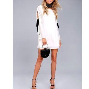 Lulus white mini dress bow tie split sleeve